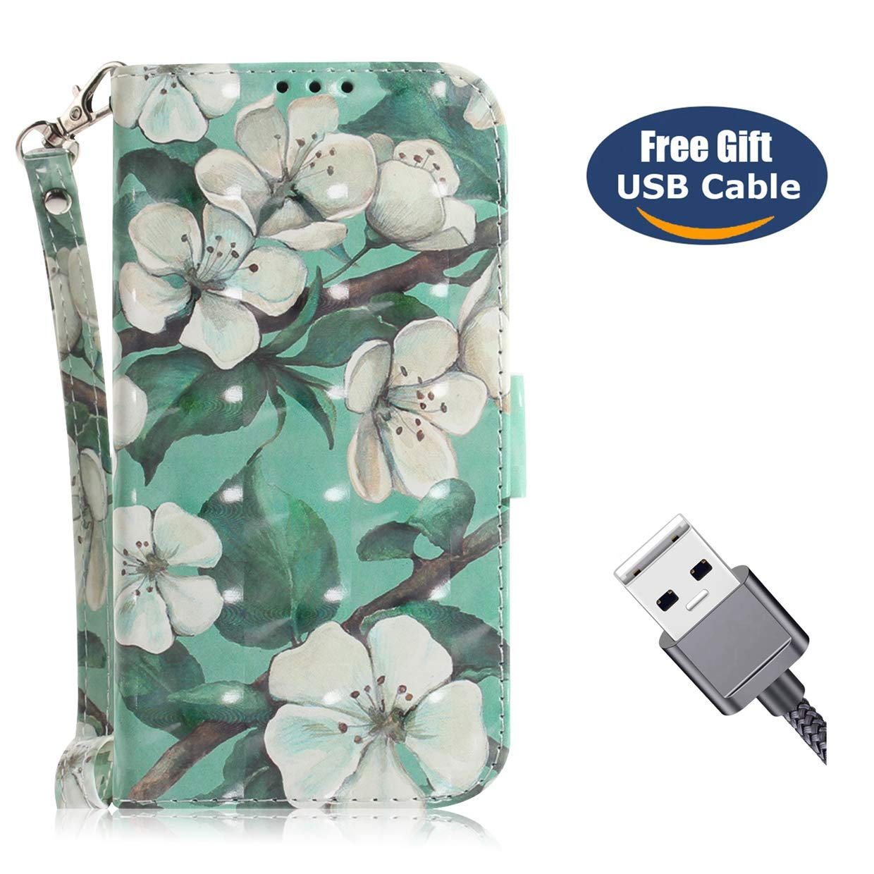 Galaxy J4 Plus case, Galaxy J4 Plus wallet case, Aireratze Quality PU Leather Case [3D Tech Surface] Ultra Smooth Surface Skin [Magnetic Closure] Wallet Case for Samsung J4 Plus(White Flower)+USB cable