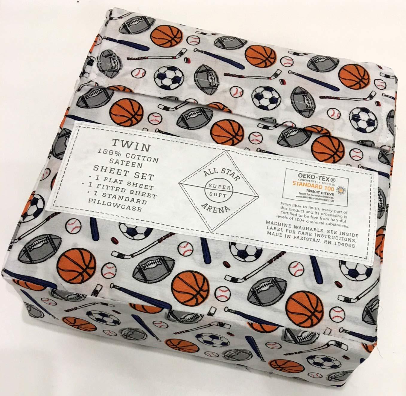 All Star Arena Sports Twin Sheet Set   100% Cotton Sateen   Football Soccer Baseball Basketball Hockey