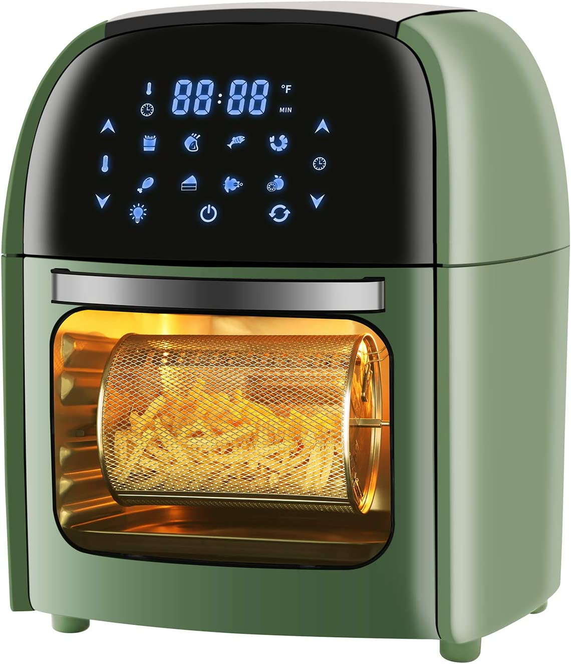 R.W.FLAME Air Fryer 10.5QT with Rotisserie, Dehydrator, 8-in-1 Presets,LED Digital Display, Time& Temperature Control, ETL GS CE CB Certificated, Green,1700W