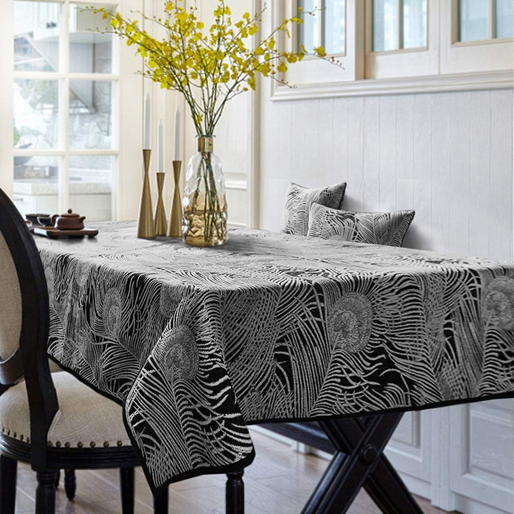 HFY テーブルクロスシンプルで厚手のやけ防止長方形ポリエステルテーブルクロスブラック (色 : ブラック, サイズ さいず : 140*220cm) 140*220cm ブラック B07S52VDLH