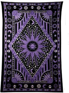 GLOBUS CHOICE INC. Psychedelic Celestial Sun Moon Planet Bohemian Tapestry Wall Hanging Dorm Decor Boho Tapestries Hippie Hippy Purple tie dye Tapestry Beach Coverlet 54 X 84