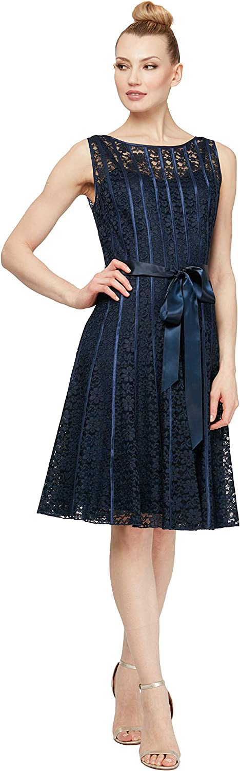 Missy and Plus Fashions Womens Sleeveless Lace Dress with Satin Strapping S.L 16 Newivory//Black