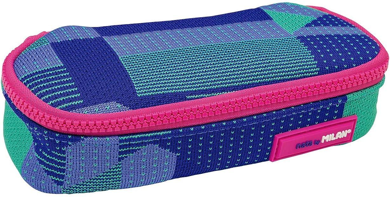MILAN Portatodo Ovalado Knit, Lila Estuches, 20 cm, Lila Y Verde: Amazon.es: Ropa y accesorios