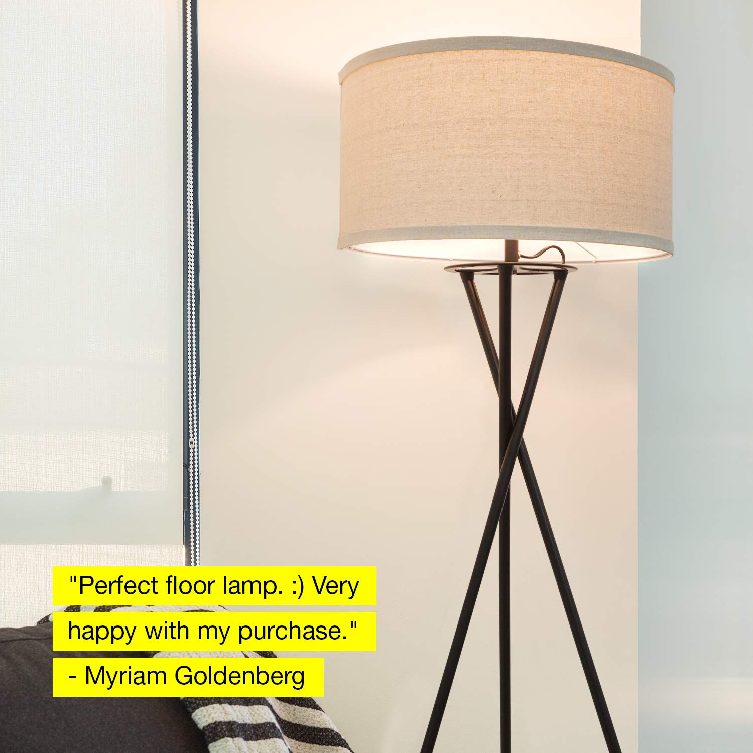 Mid Century Modern Tall Contemporary Drum Shade Lamp for Bedroom ...
