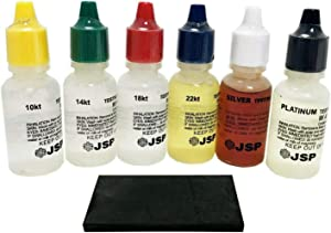 JSP Gold, Silver, and Platinum Testing Acid Solutions Kit With Test Stone