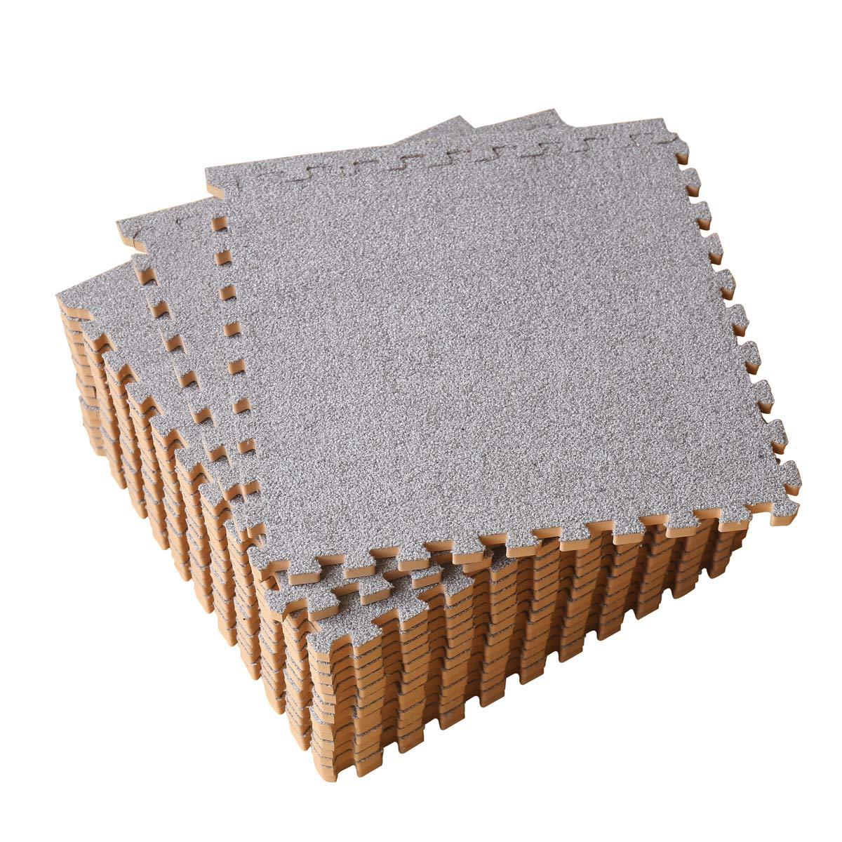 LaFamille Interlocking Foam Floor Mat 16 Tiles 16 sq.ft Puzzle Carpet Flooring Exercise Square Mats Gym,Playroom Floor Mats for Carpet 1'x1' (Light Gray)