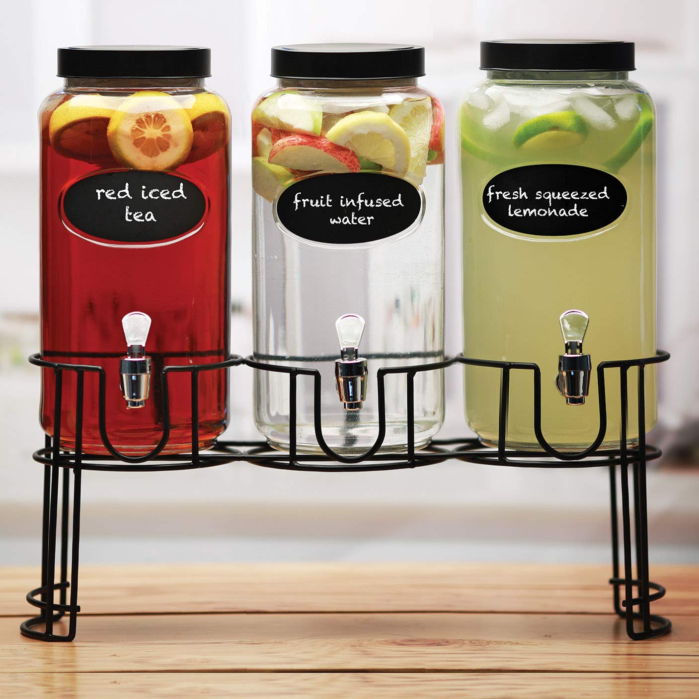 Circleware 69111 Trimont Set of 3 Glass Beverage Dispensers with Lid Chalkboard & Black Metal Stand, Entertainment Kitchen Glassware for Water, Juice, Wine, Kombucha and Cold Drinks, 118 oz Clear