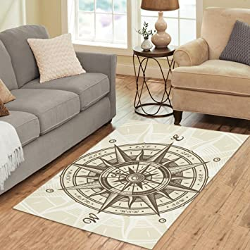 Your Fantasia Area Rug Custom Vintage Nautical Compass Rose Modern Carpet Home Decor