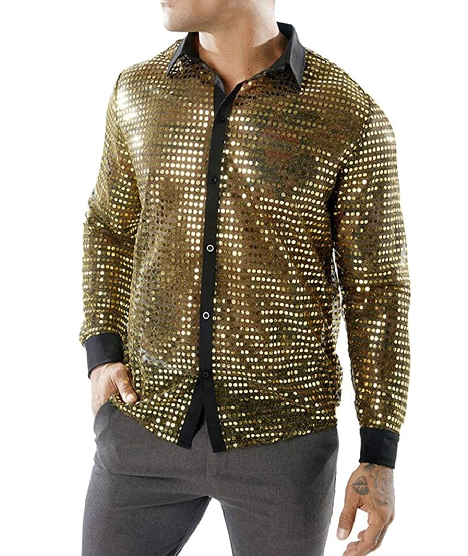 HTOOHTOOH Mens Fashion Sequins See Through Long Sleeve Mesh Clubwear Party Shirts