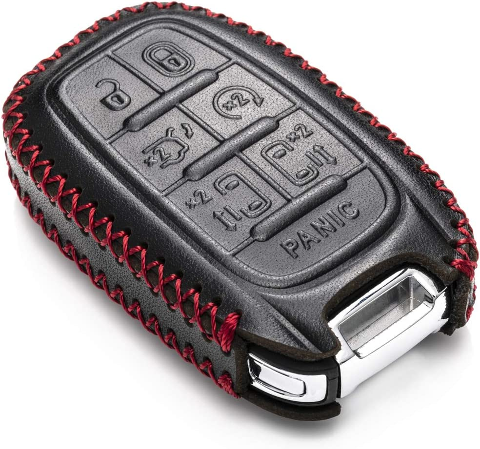 Vitodeco Genuine Leather Smart Key Fob Case Cover Protector with Leather Key Chain for 2017-2020 Chrysler Pacifica 7-Button, Black