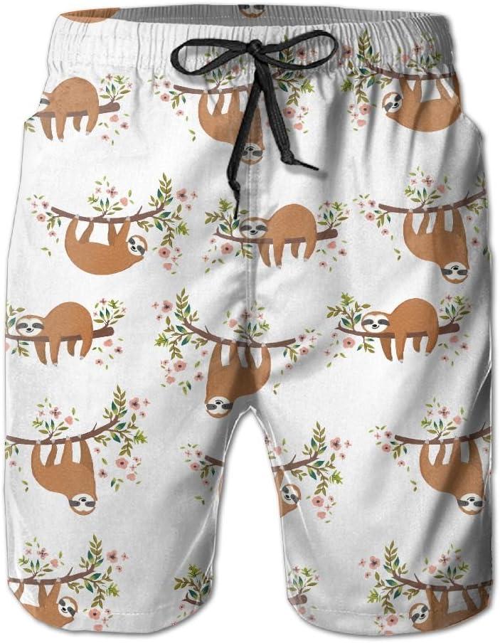 Qinf New Cartoon Fashion Cute Sloth Climb Tree Shorts Beach Casual Shorts For Man