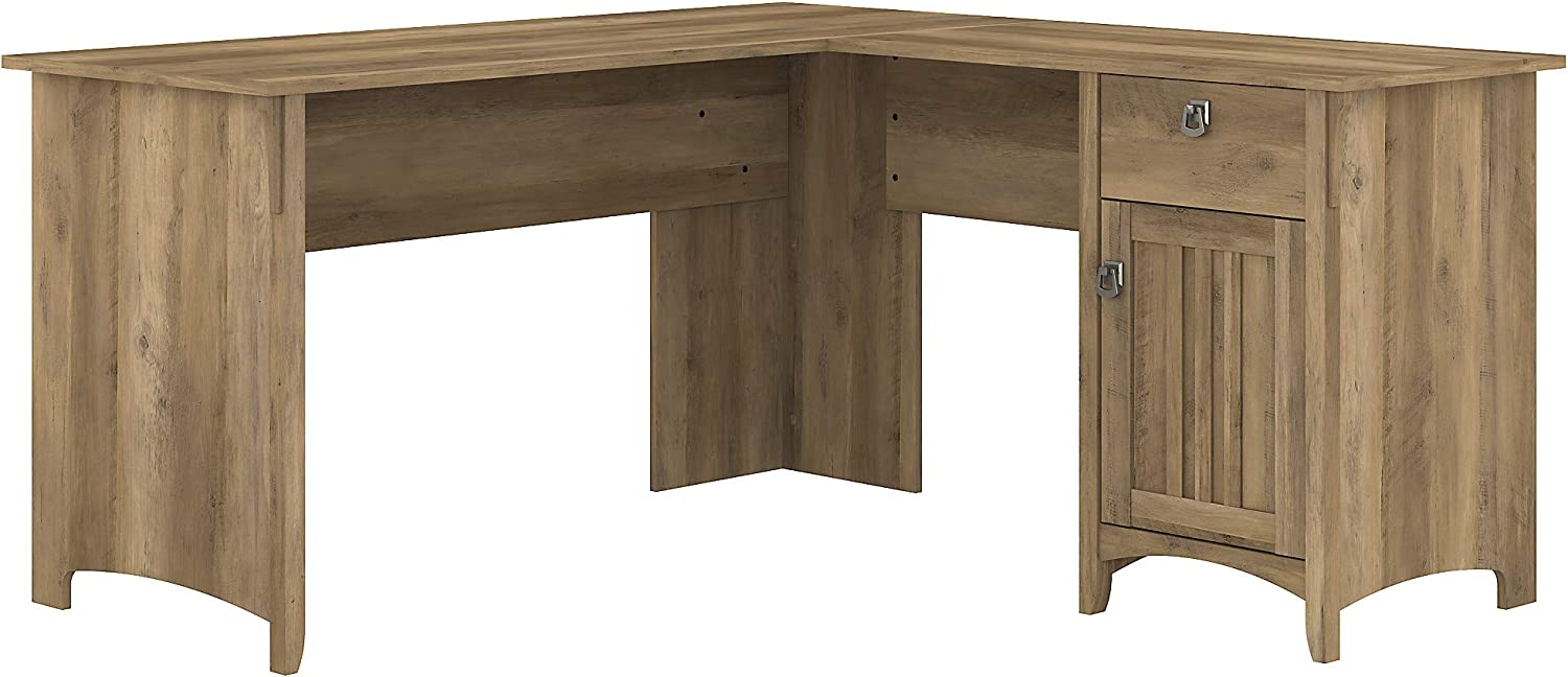 Bush Furniture Salinas L Shaped Desk with Storage, 60W, Reclaimed Pine