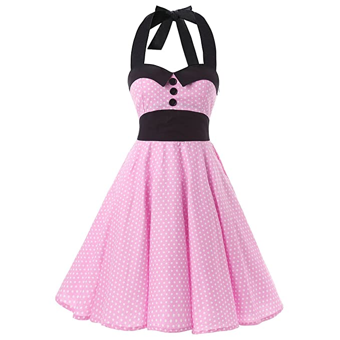 Negro Collares Grandes Botones Rosa y Blanco Mini diseño de Lunares 1950s Inspirado en Cuello Halter