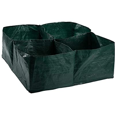 Apipi Raised Garden Planter Fabric Bed, 4 Divided Grids Durable Square Planting Grow Pot for Carrot Onion Herb Flower Vegetable Plants : Garden & Outdoor