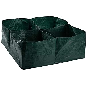 APIPI Raised Garden Planter Fabric Bed, 4 Divided Grids Durable Square Planting Grow Pot for Carrot Onion Herb Flower Vegetable Plants