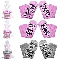 SENHAI 3 pares Calcetines con 3 magdalenas Embalaje de regalo y cintas, Regalo divertido para Mayor, Amigo y amante - Si…