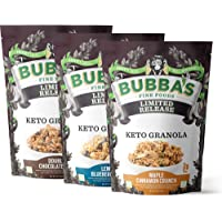 Bubba's Foods Keto Friendly Granola Variety Pack, 6oz (Pack of 3)   Gluten Free, Low Sugar Breakfast Cereal…