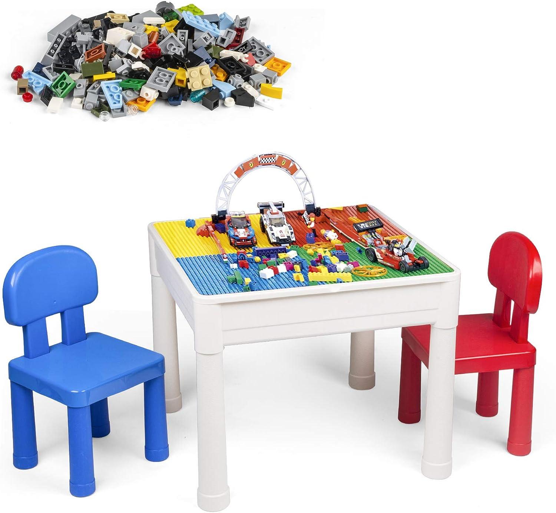 LADUO Juegos de Mesa y sillas niños, 200 Piezas de Bloques de construcción de Juguete, Mesa de Juego/Mesa de Aprendizaje 5 en 1 Incluye 2 sillas y Mesa de Bloques de construcción