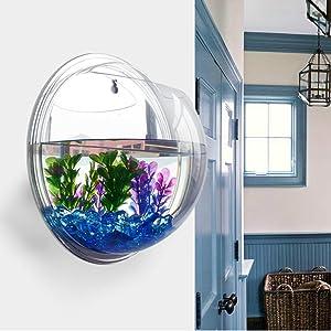 WinnerEco Wall Mounted Fish Tank, Plant Wall Hanging Mount Bubble Bowl Plant Fish Tank Aquarium Home Decor (Mirror)