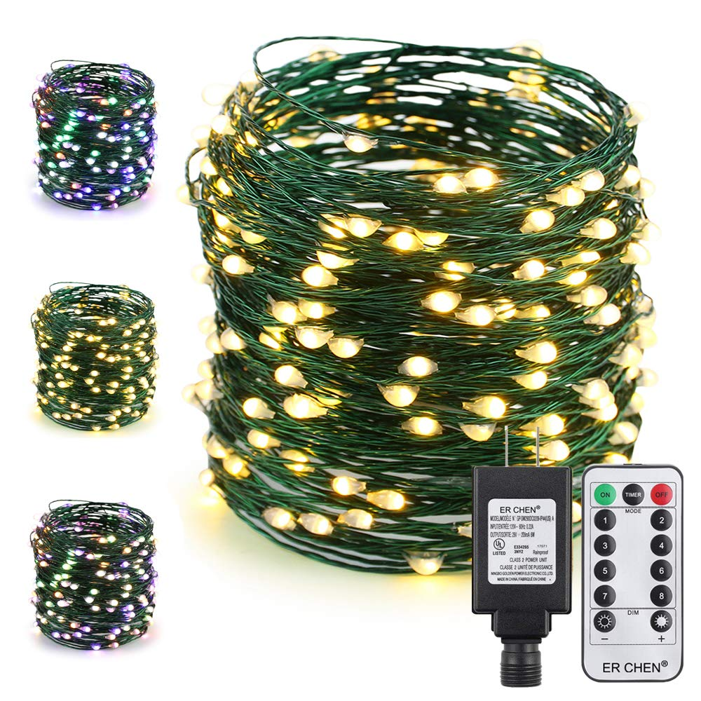 ER CHEN Color Changing LED String Lights Plug in with Remote, 72Ft 200 LED Green Copper Wire Fairy Lights 8Modes Christmas Lights with Timer for Bedroom, Patio, Garden, Yard-Warm White&Multicolor