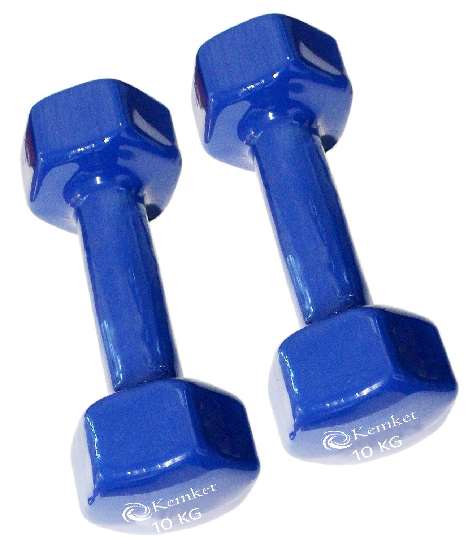 Mancuernas con revestimiento de vinilo (Juego de 2) - 0,5 kg a 10 kg gimnasio en casa Fitness ejercicio Biceps entrenamiento con peso 0,5 kg, 1 kg, 2 kg, ...