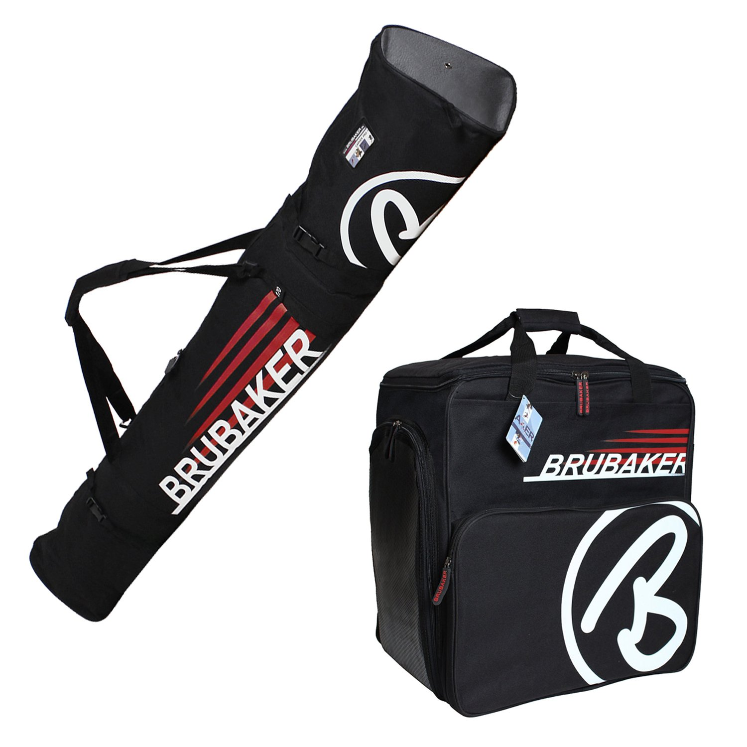 HENRY BRUBAKER ''Champion'' Combo Ski Boot Bag and Ski Bag for 1 Pair of Ski up to 170 cm, Poles, Boots and Helmet - Black Red