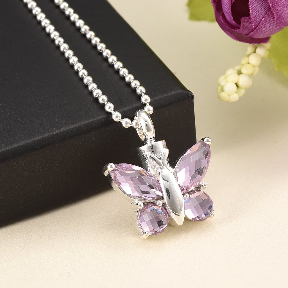Red Milifiori Glass Butterfly constantlife Elegant Butterfly Keepsake Cremation Jewelry Urn Necklace for Ashes Memorial Charms