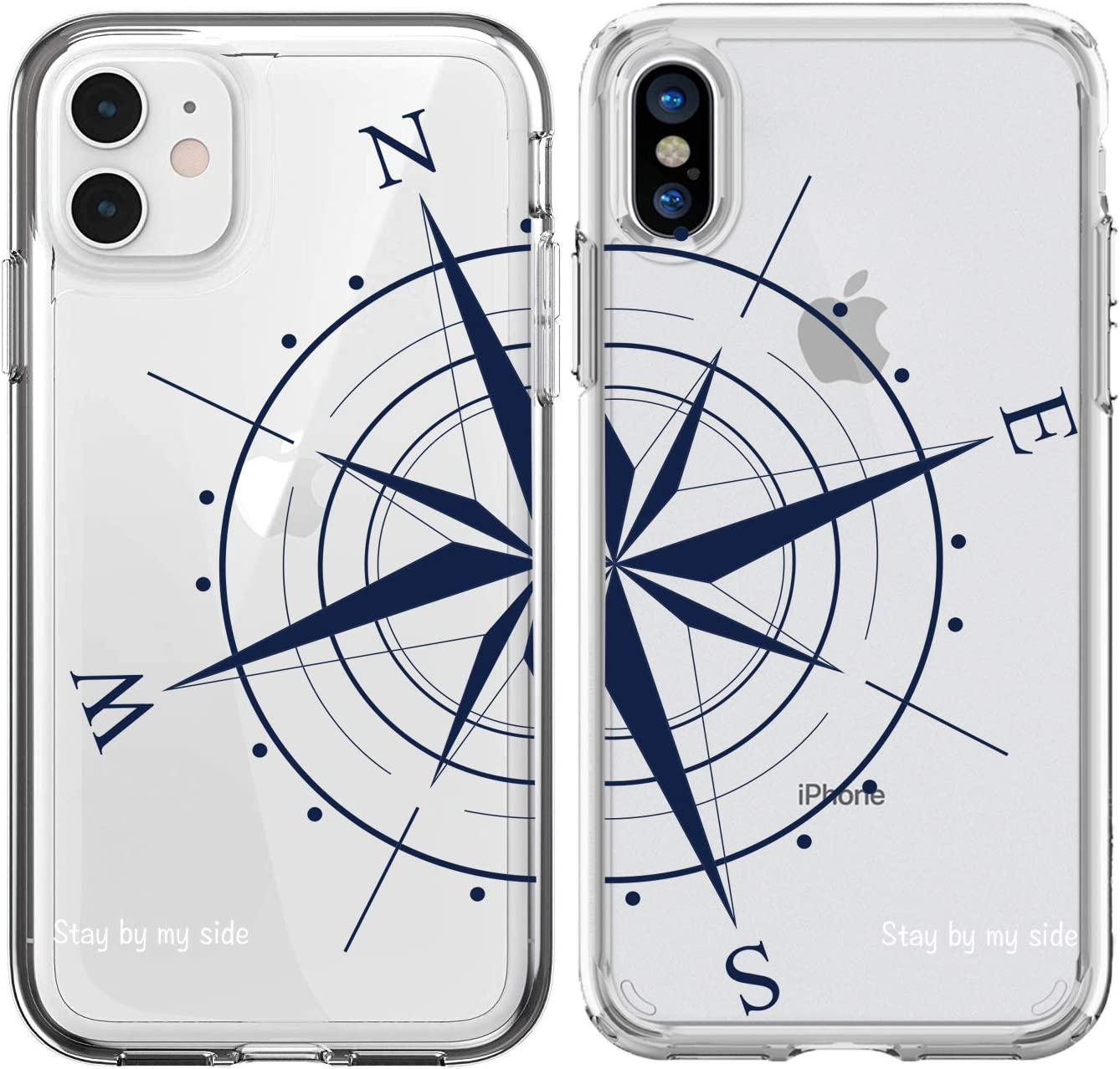 Shark Compatible Best Friends Style/Boyfriend&Girlfriend Compass/Stay by My Side Matching Couple Cases for iPhone 11
