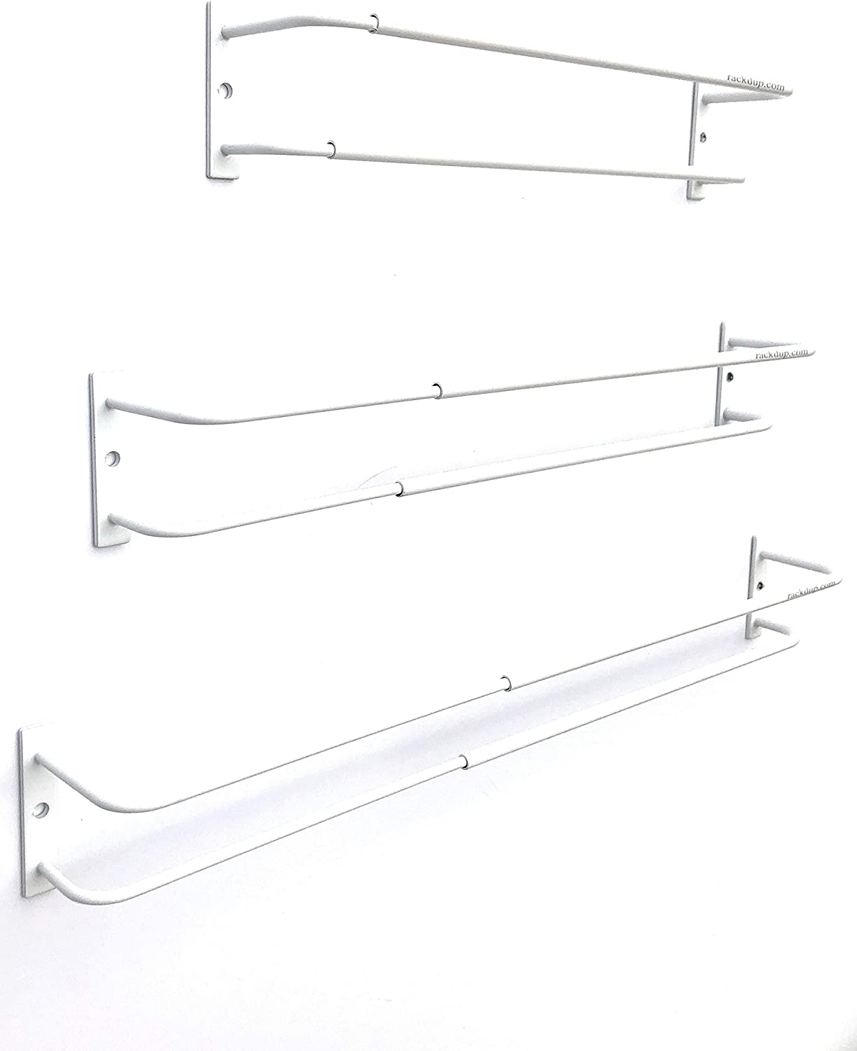 Expandable Rack (white, set of 3) - Mount on cabinet door/pantry/wall - Convenient storage for spices, K-cups, medications, acrylic paints & more - Great for use in kitchens, bathrooms & RV/campers