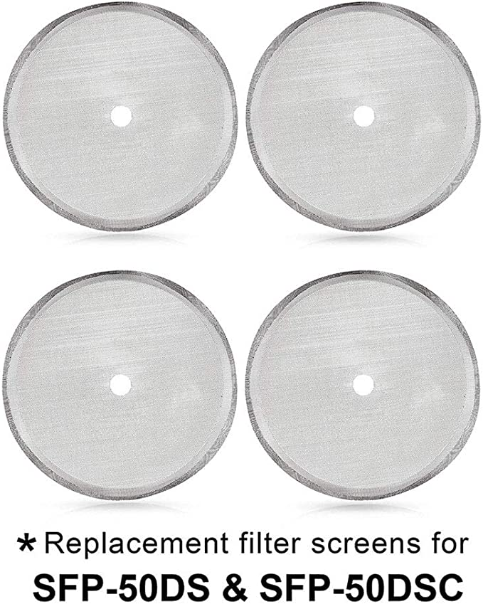Secura French Press Replacement Screens, Stainless Steel Reusable Mesh Filter for 50 Ounce, 1.5 Liter, 12 Cup Coffee Press, 4 Pack