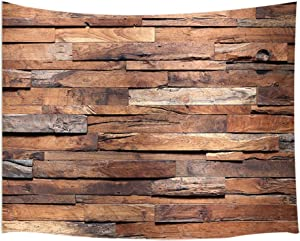JAWO Rustic Barn Door Tapestry Wall Hanging, Wood Panels Wall and Floor Texture, Polyester Fabric Wall Tapestry for Home Living Room Bedroom Dorm Decor 80W X 60L Inches