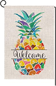 Colorful Pineapple Welcome Small Garden Flag Vertical Double Sided 12.5 x 18 Inch Summer Farmhouse Burlap Yard Outdoor Decor