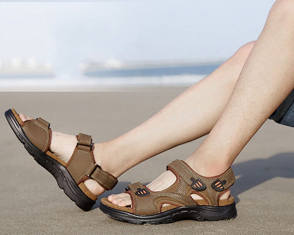 Herren Mode Sandalen Strandschuhe Outdoor Casual Mode Herren Klettverschluss Rutschfest Khaki 91c060