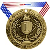 Decade Awards 1st Place World Class Medal, Gold - 3 Inch Wide First Place Medallion with Stars and Stripes American Flag V Neck Ribbon