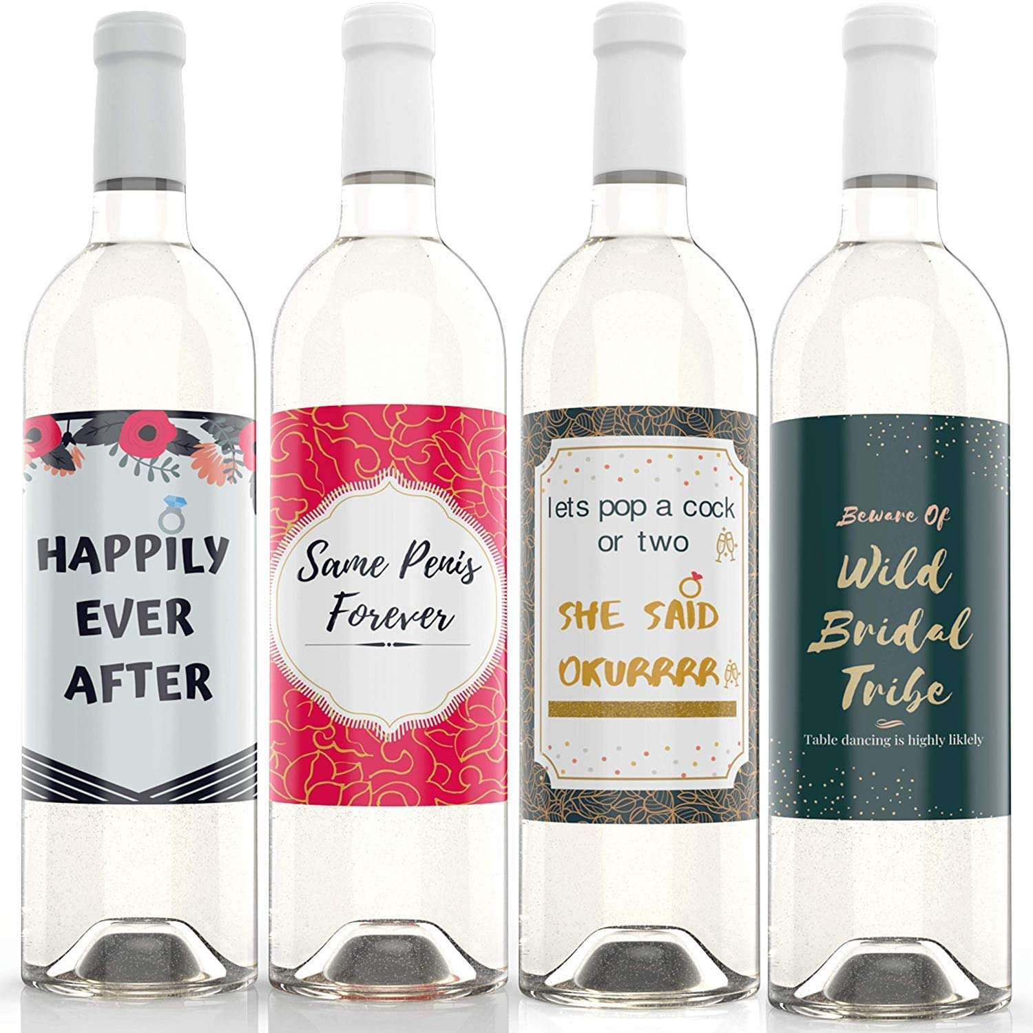 """Bachelorette party wine labeI Bridal Shower Wedding Wine Bottle Labels - 4"""" x 5"""" (4 pack) Bridal Shower Party Favors Gifts Bridesmaids Engagement Decor Bride Maid of Honor gag gift"""