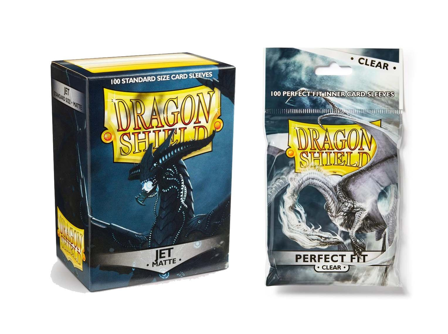 Dragon Shield Bundle: Matte Jet 100 Count Standard Size Deck Protector Sleeves + 100 Count Clear Perfect Fit Inner Card Sleeves