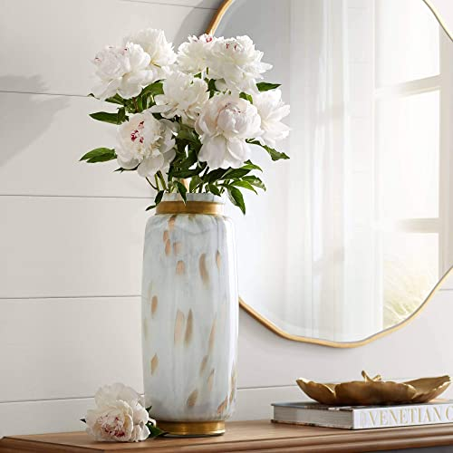 Dahlia Studios Chelsie 16 1 2 High White and Gold Vase