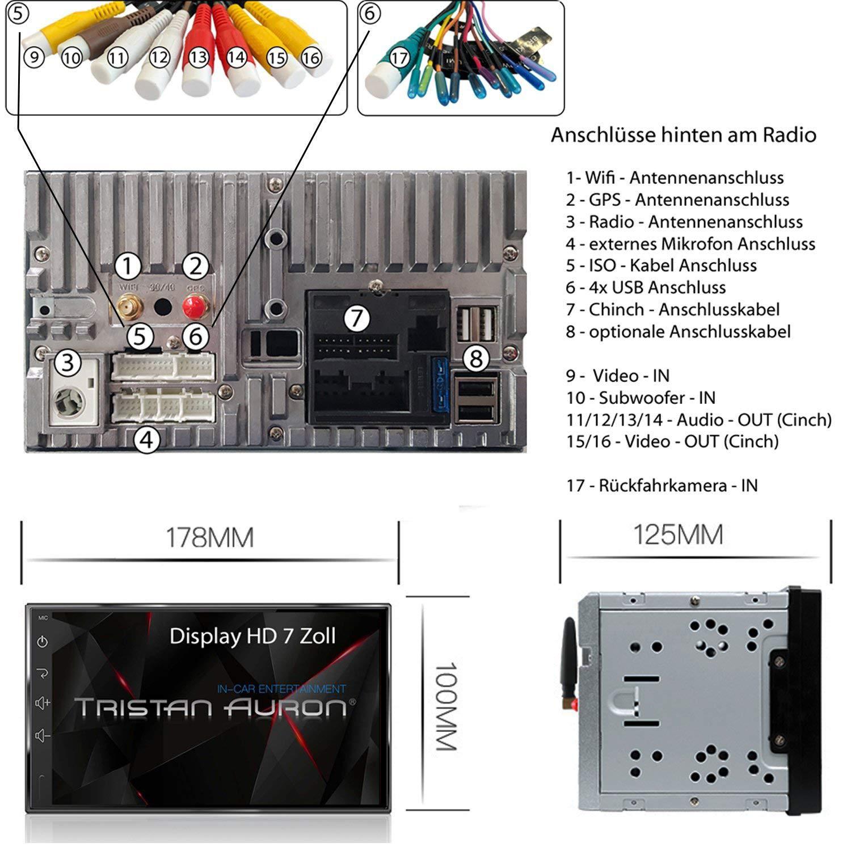 7 Touchscreen Bildschirm Quad Core Android 8.1 DAB+ 2 DIN Tristan Auron BT2D7018A Autoradio mit Navi GPS Navi OBD 2 Bluetooth Freisprecheinrichtung MirrorLink DAB+ Box USB//SD