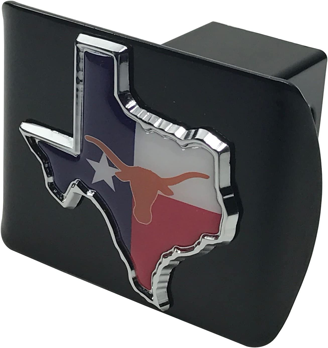AMG Auto Emblems Premium State of Texas Flag Texas Shaped SOLID METAL Heavy Duty Hitch Cover