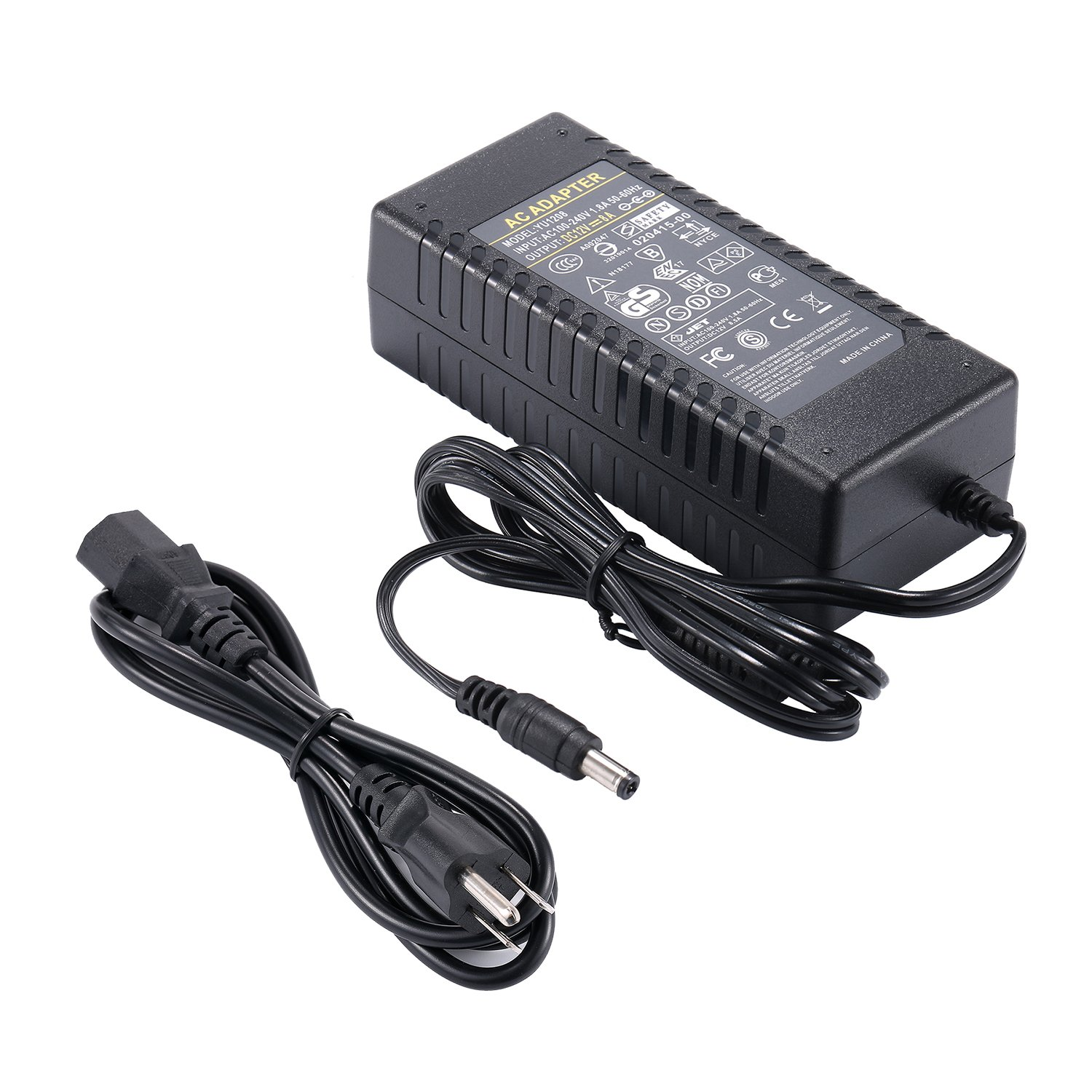 COOLM Power Charger AC to DC Adapter Converter 12V 8A 96W DC Power Supply 5.5x2.5mm DC Output Jack HUAPU YU1208