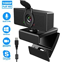 Webcam with Microphone, 1080P HD Webcam, USB Plug and Play Laptop PC Desktop Web Camera, 110-Degree View Angle Computer Camera for Video Calling Recording Conferencing