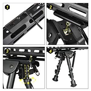 CVLIFE Bipod with M-LOK Mount Adapter 6-9 Inches Rifle Bipod Include M LOK Rail Mount Adapter