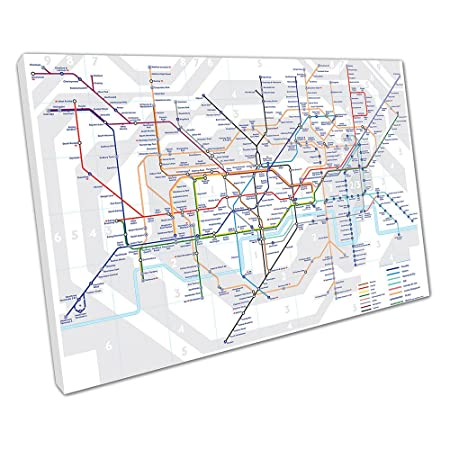 Print on Canvas THE UNDERGROUND London MAP tube lines Stations Size ...