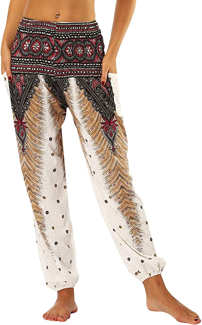 Finebo Femmes Boho Harem Pantalon Floral Imprimer /Élastiqu/ée Taille Pantalon Dames D/écontract/ée Hippie Yoga Pantalon