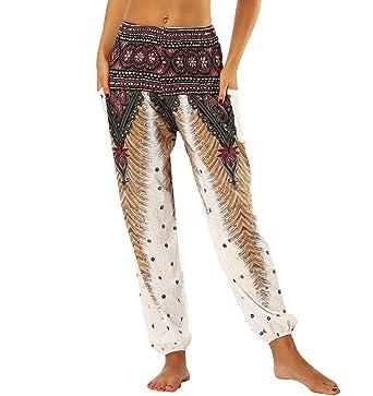 Sarouel Femme Pantalon Sarouel Hippie Bouffant Imprimé Leger Jogging  Ethnique Sarouel Yoga Danse Baggy Grande Taille 1313451c8b3