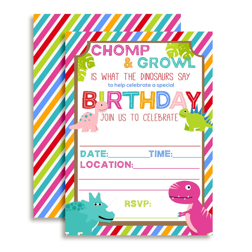 Cute and Colorful Dinosaur Birthday Party Invitations for Girls, 20 5''x7'' Fill In Cards with Twenty White Envelopes by AmandaCreation