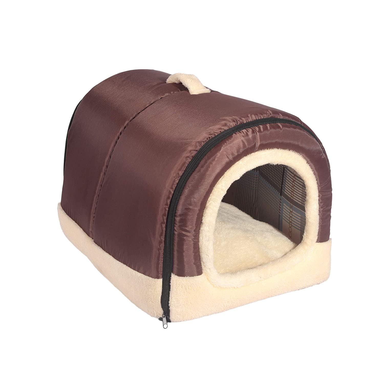 Foldable Machine Washable Cat Bed Cave Non-Slip Soft Warm Pet Rabbit House Sofa with Detachable Cushion ANPI 2 in 1 Dog House Cat Igloo Multicolour 3 Sizes