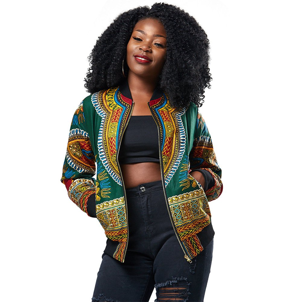 Women's Long Sleeve African Print Dashiki Zip-Up Short Biker Bomber Jacket Outwear Coat