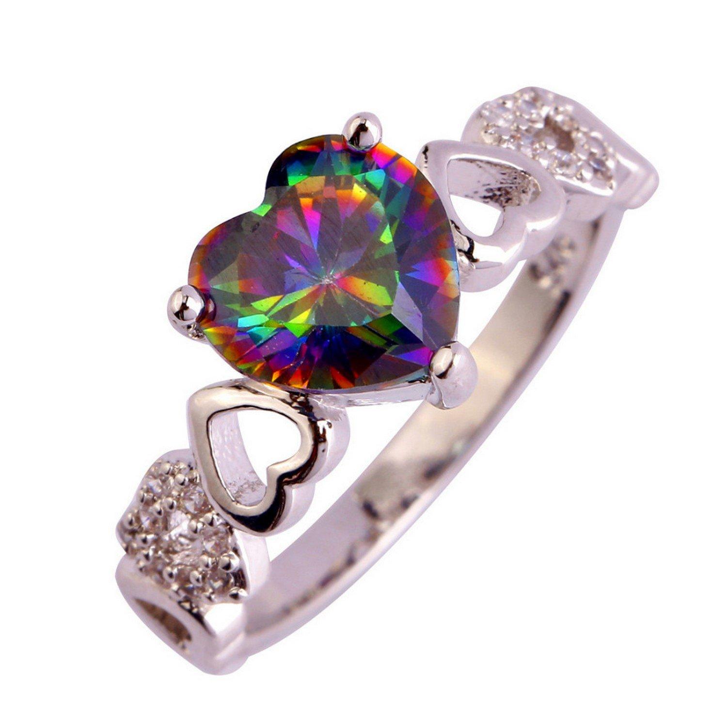Slyq Jewelry Heart Cut Rainbow White CZ Silver Color Style engagement rings fashion rings women