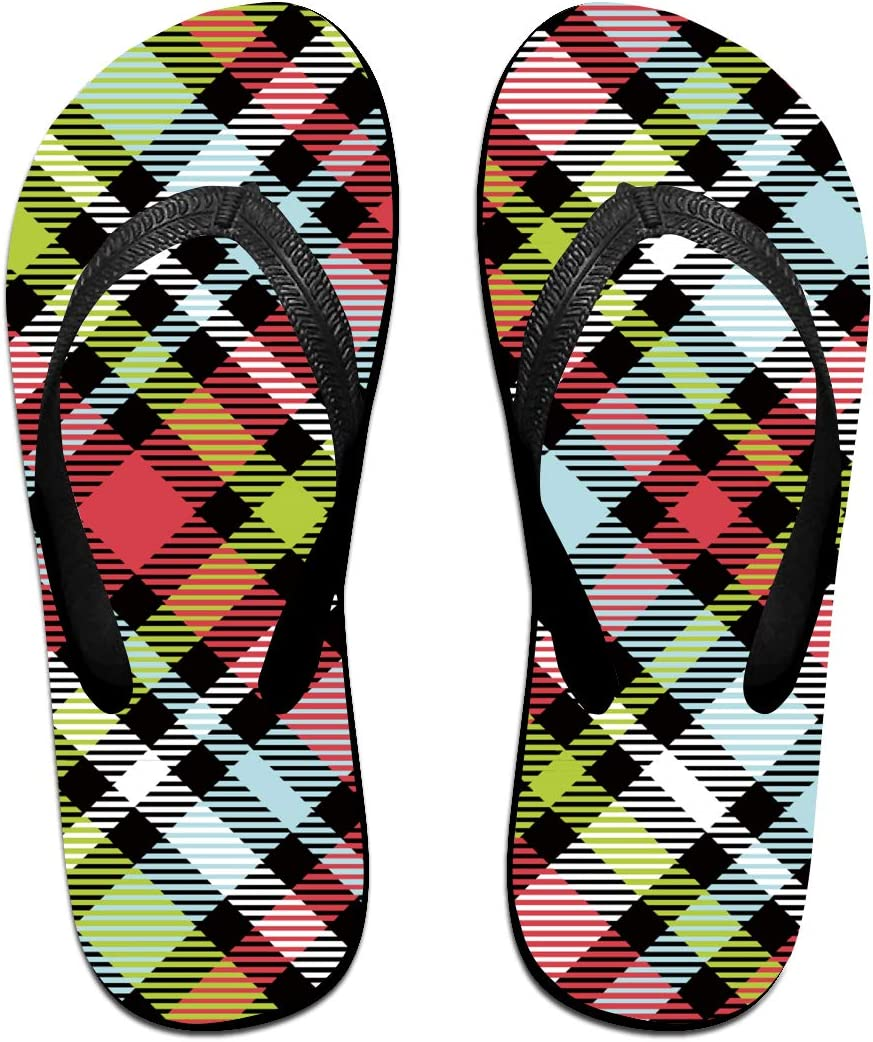 Colourful Plaid Pattern Mens and Womens Light Weight Shock Proof Summer Beach Slippers Flip Flops Sandals